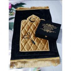 Книга Корана со смыслом на узбекском языке и молитвенный коврик (черный)