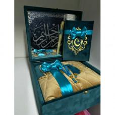 Книга Корана на арабском, вода из Замзам и четки (бирюзовый)