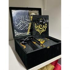 Книга Корана на арабском, вода из Замзам и четки (черный)
